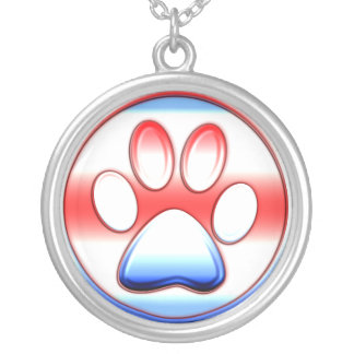 Red White and Blue Paw Print Round Pendant Necklace