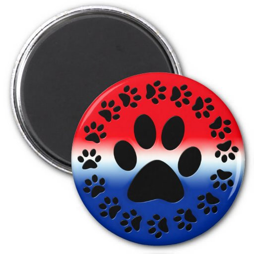 Red White and Blue Paw Prints Circle 2 Inch Round Magnet