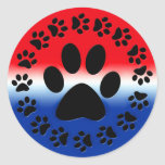 Red White and Blue Paw Prints Circle Round Sticker