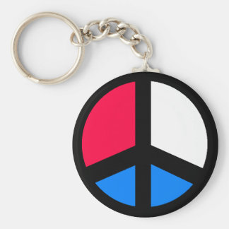 Red , White and Blue Peace Keychain
