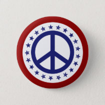 Red White and Blue Peace Sign and Stars Button