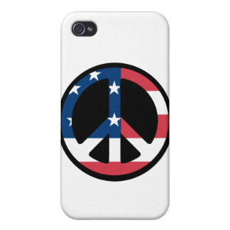 RED WHITE AND BLUE PEACE SIGN COVERS FOR iPhone 4