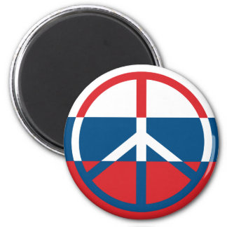 Red, White and Blue Peace Sign 2 Inch Round Magnet