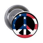 RED WHITE AND BLUE PEACE SIGN PINBACK BUTTONS