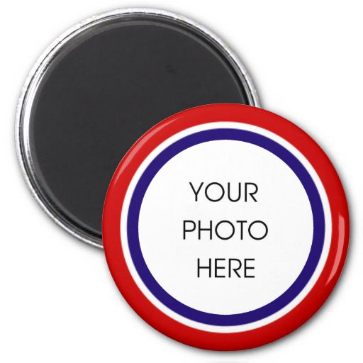 Red, White, and Blue Photo Frame 2 Inch Round Magnet