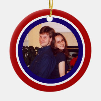 Red, White and Blue Photo Frame Ceramic Ornament