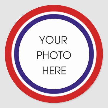 USA Themed Red White and Blue Photo Frame Classic Round Sticker