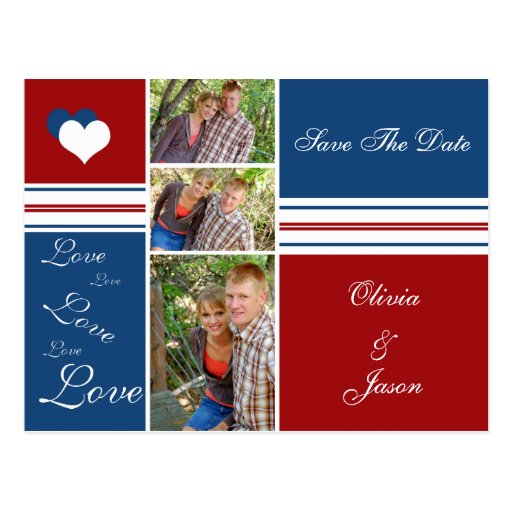 Red White and Blue Photo Squares Save The Date Postcards