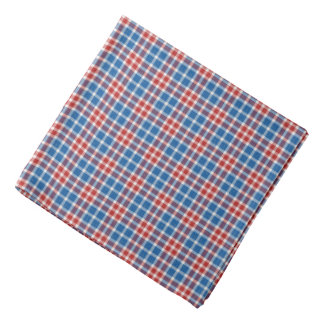 Red White and Blue Plaid Bandana