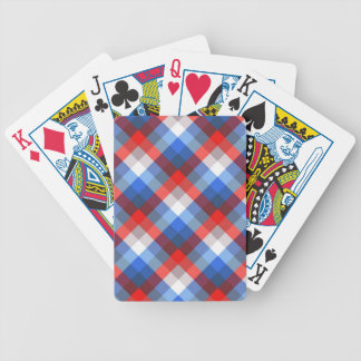 Red, White and Blue Plaid Bicycle Playing Cards