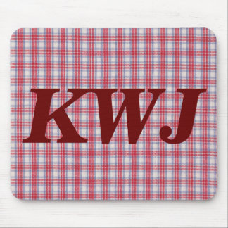 Red White and Blue Plaid Fabric Design Mouse Pad