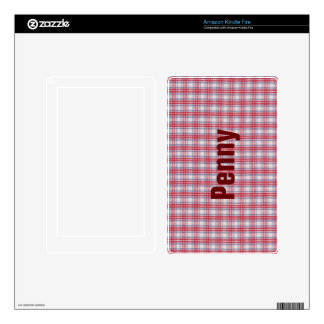 Red White and Blue Plaid Fabric Design Decals For Kindle Fire