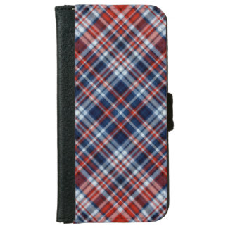 Red White and Blue Plaid iPhone 6 Wallet Case