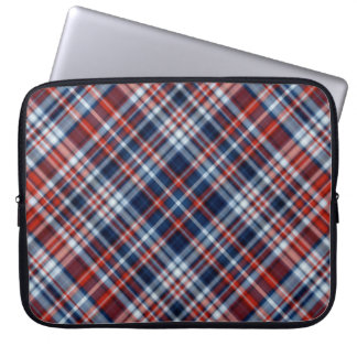 Red White and Blue Plaid Laptop Sleeve
