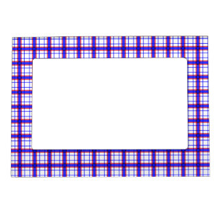 Red, White, and Blue Plaid Magnetic Photo Frame