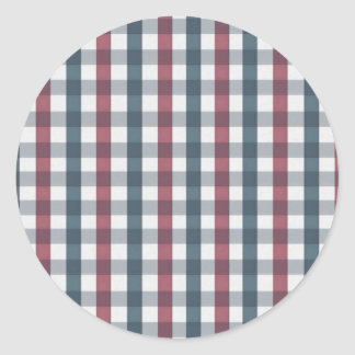 Red White and Blue Plaid Pattern Classic Round Sticker