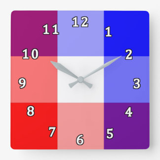 Red, White and Blue Plaid Square Wall Clock