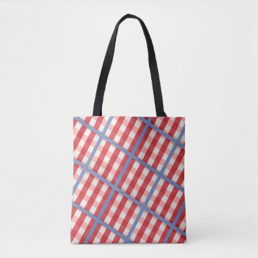 Beach Themed Red, White and Blue Plaid Tote Bag