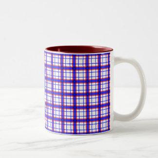 Red, White, and Blue Plaid Two-Tone Coffee Mug