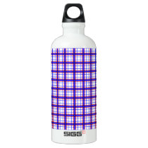 Red, White, and Blue Plaid Water Bottle