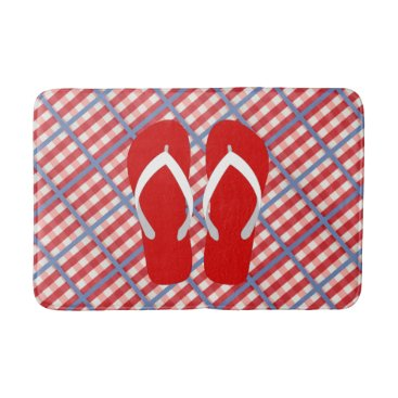 Beach Themed Red, White and Blue Plaid with Flip Flops Bath Mat