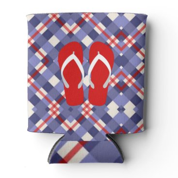Beach Themed Red, White and Blue Plaid with Flip Flops Can Cooler