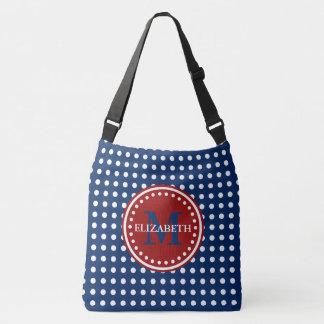 Red White and Blue Polka Dot Monogram Diaper Bag