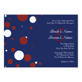 Red, White, and Blue Polka Dot Wedding Invitation
