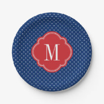 Red White and Blue Polka Dots Monogram Paper Plate