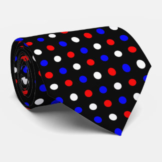 Red White and Blue Polka Dots on Black Neck Tie