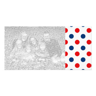 Red White and Blue Polka Dots Photo Card