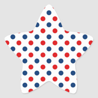 Red White and Blue Polka Dots Star Sticker