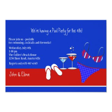 Beach Themed Red, White and Blue Pool Party Invitation