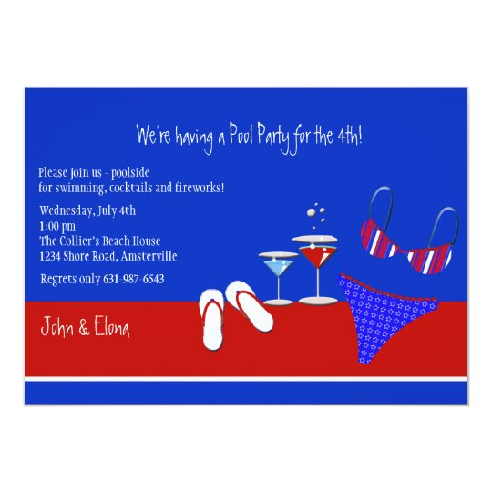 red white and blue pool party invitation zazzle com