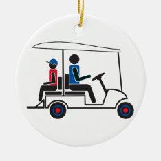 Red, White And Blue Ptc Ga Family Golf Cart Ceramic Ornament at Zazzle