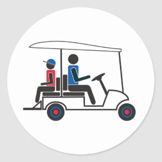 red, White and Blue PTC GA Family Golf Cart Classic Round Sticker