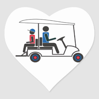 red, White and Blue PTC GA Family Golf Cart Heart Sticker