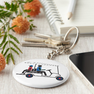 red, White and Blue PTC GA Family Golf Cart Keychain
