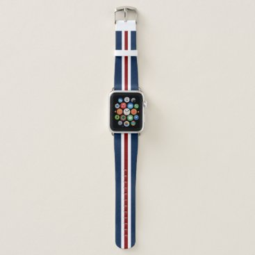 USA Themed Red White and Blue Racing Stripe Apple Watch Band