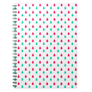 Red White and Blue Raindrop Design Spiral Notebook