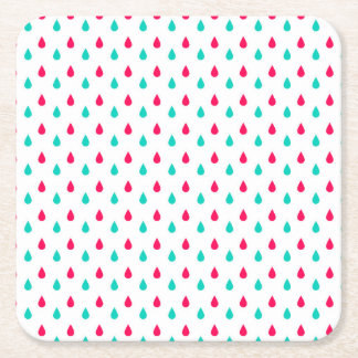Red, White, and Blue Raindrops Design Square Paper Coaster