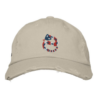 Red White and Blue Rattler Embroidered Baseball Cap