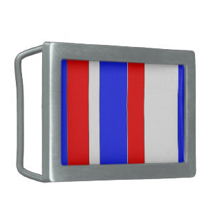 Red White and Blue Rectangular Belt Buckle