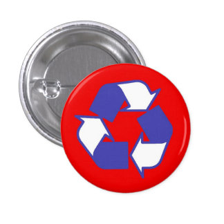 Red White and Blue recycle logo button