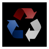 Red, White and Blue Recycling Symbol Poster