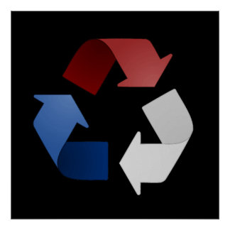 Red White and Blue Recycling Symbol Poster