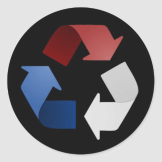 Red, White and Blue Recycling Symbol Classic Round Sticker