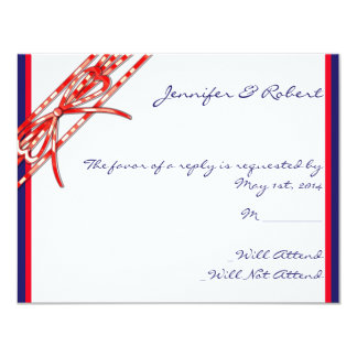 Red White and Blue Response Card Invitation