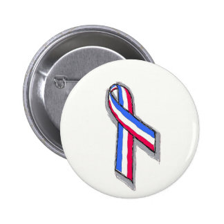 Red White and Blue Ribbon. 2 Inch Round Button