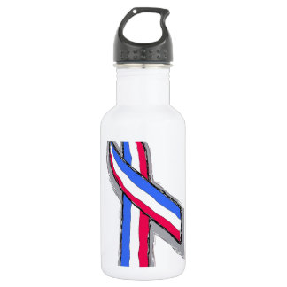 Red White and Blue Ribbon. Stainless Steel Water Bottle